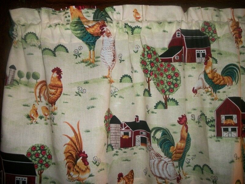 country kitchen fabric rooster chicken farm barn country kitchen fabric window 2793