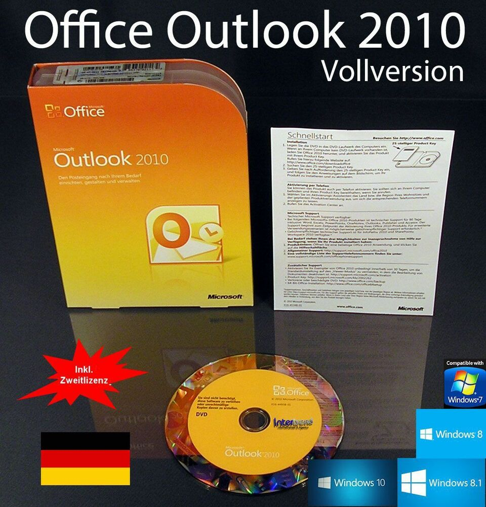 microsoft office outlook 2010 vollversion box cd. Black Bedroom Furniture Sets. Home Design Ideas