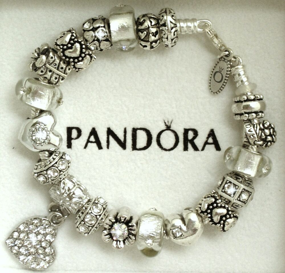 Authentic Pandora Sterling Silver Bracelet with Heart Love ...