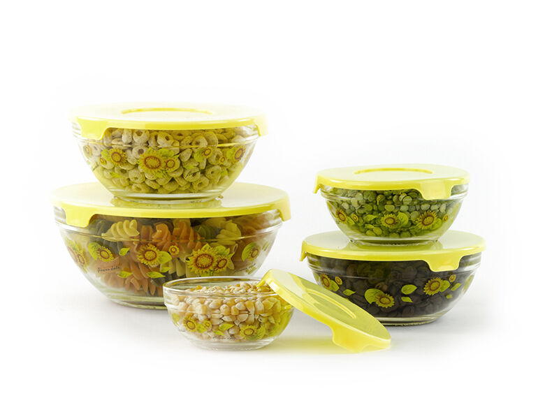 10 pcs glass lunch bowls food storage containers set with lids sunflower ebay. Black Bedroom Furniture Sets. Home Design Ideas