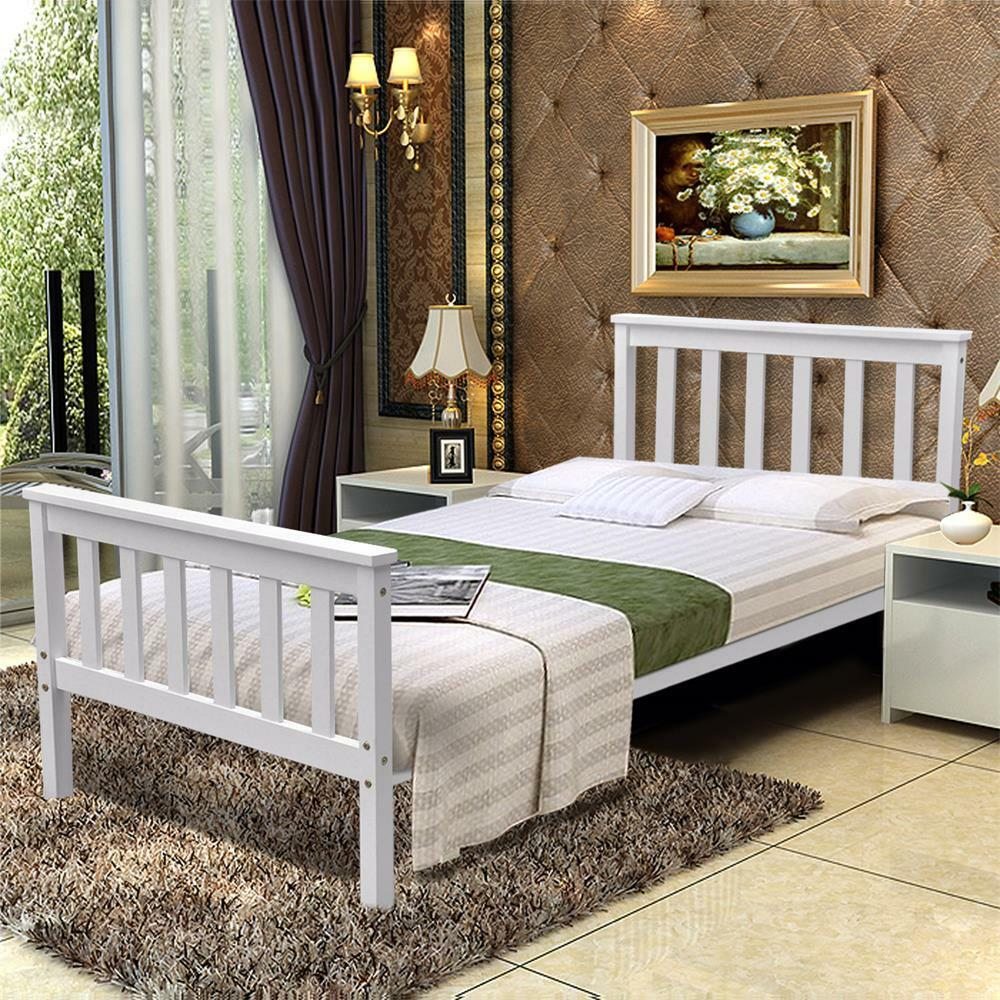 New White Standard Wooden Wood Pine Sleigh Bed Frame Solid