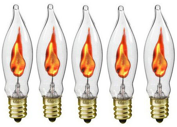 Box Of 5 Flicker Flame Light Bulbs E12 Candelabra Base 3