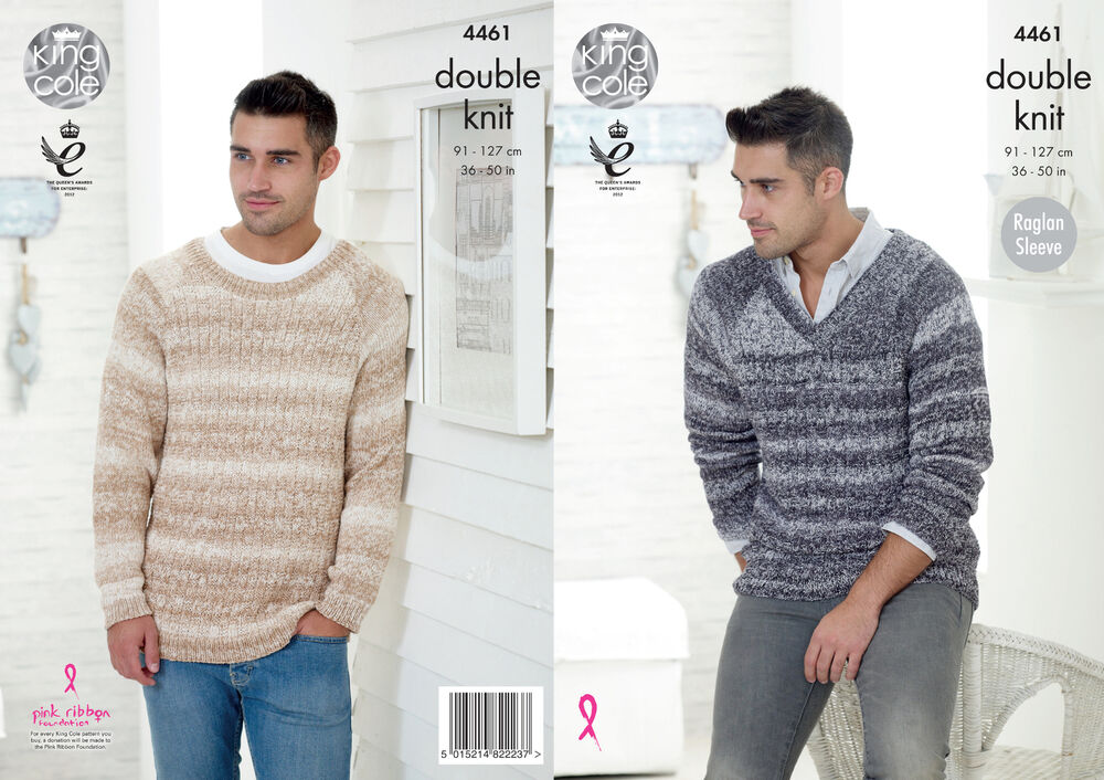 King Cole Mens Knitting Pattern Raglan Sleeve Round V Neck Jumpers ...