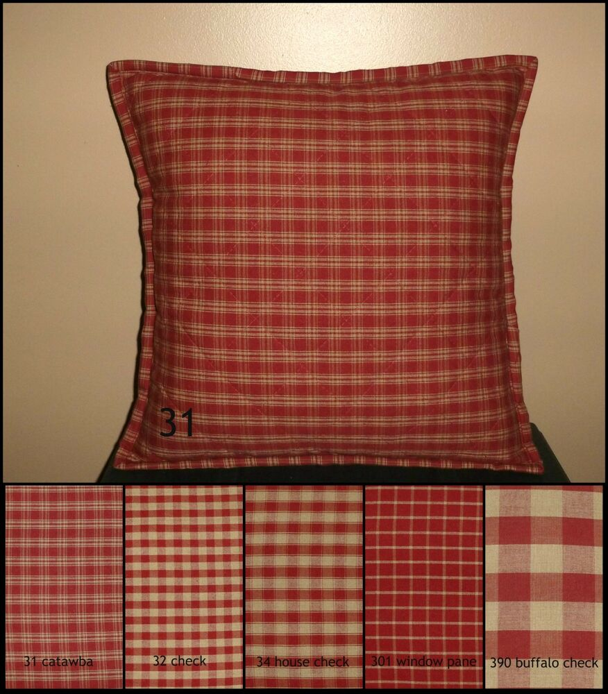Red Plaid Throw Pillow Cover : Red Plaid Quilted Throw Pillow Cover Various Sizes Primitive Rustic Country eBay