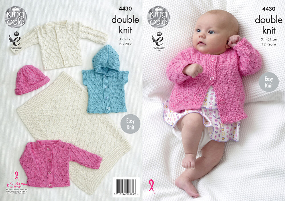 King Cole Baby Double Knitting Pattern Easy Knit Blanket Jackets ...