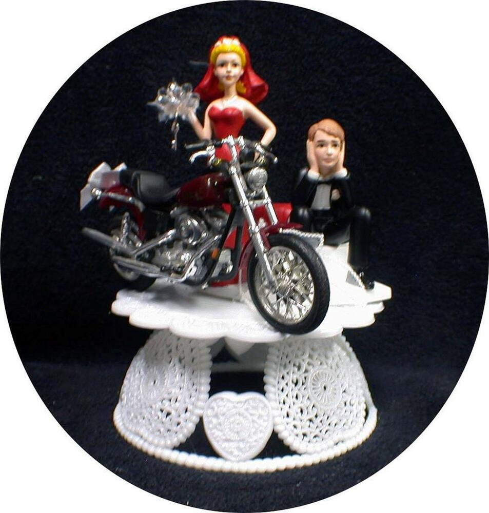 Sexy RED bride dress Wedding Cake Topper w/diecast Harley ...