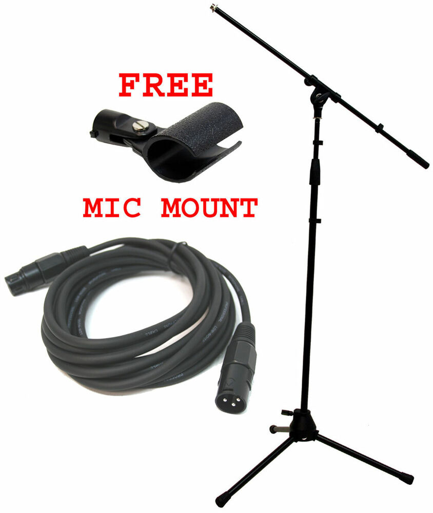 Microphone Cords Packages : Pro audio stage boom microphone stand ft xlr cable