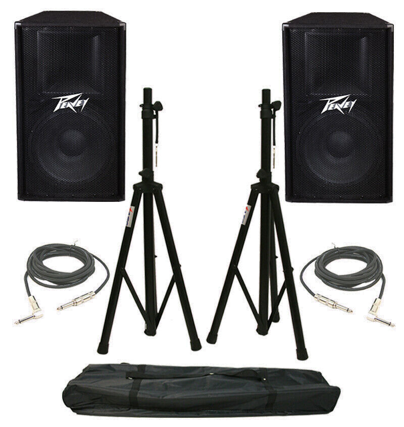 2 peavey pv115 pro audio dj 15 passive 400w speakers w stands 1 4 cables ebay. Black Bedroom Furniture Sets. Home Design Ideas
