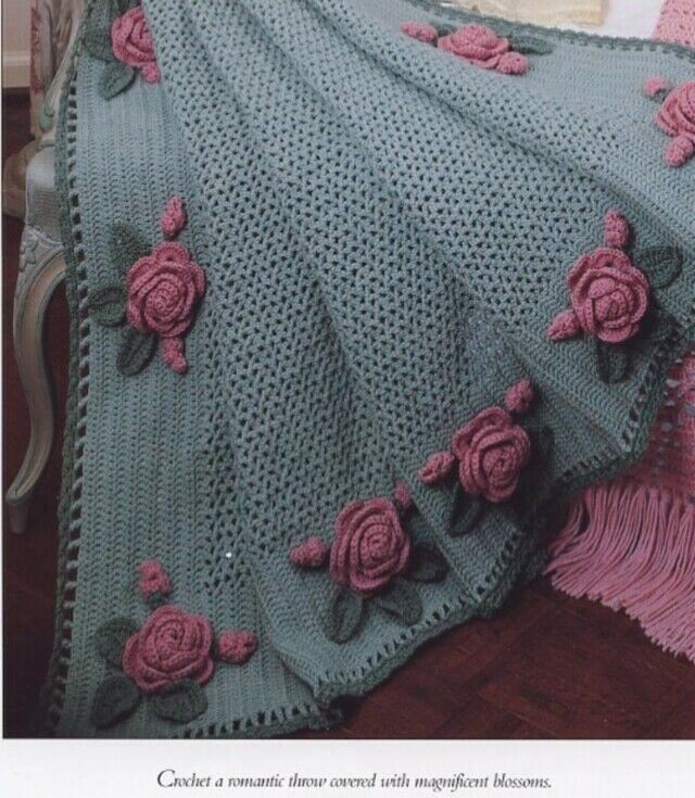 Baby Knitting Free Patterns : Victorian Roses Throw Afghan Vanna Crochet Pattern NEW - 30 Days To Shop &...