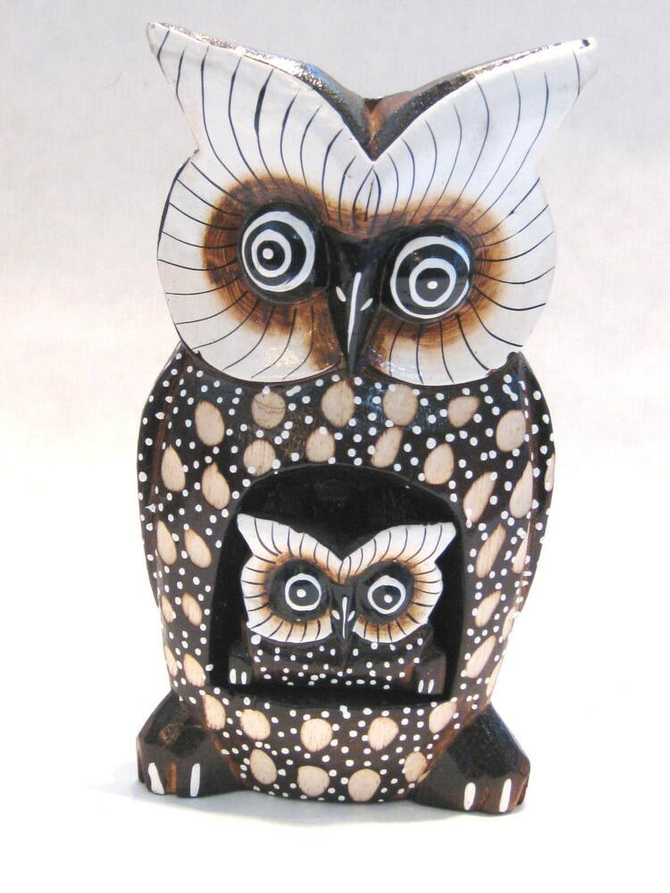 Wooden Owl Mom Baby Hand Carved Wood Bali Home Decor