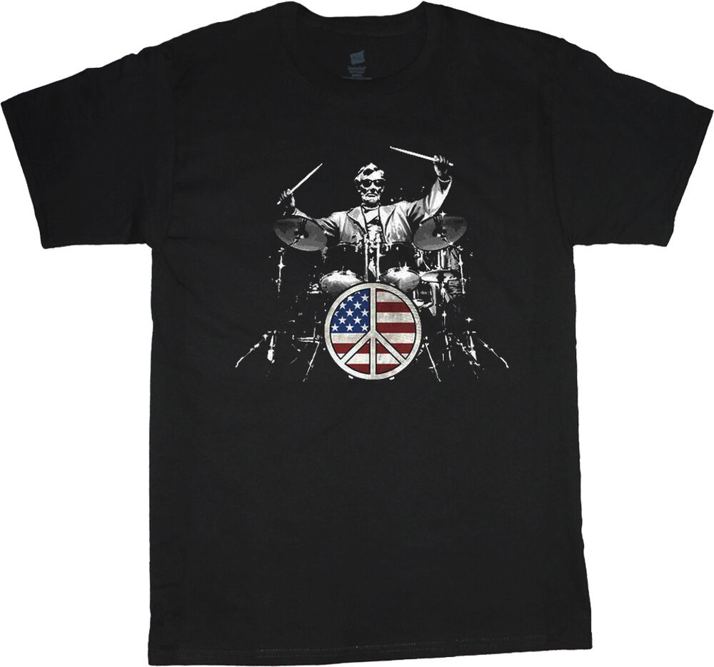 Abraham lincoln drum set t shirt drummer drum set tee for Big and tall rock t shirts