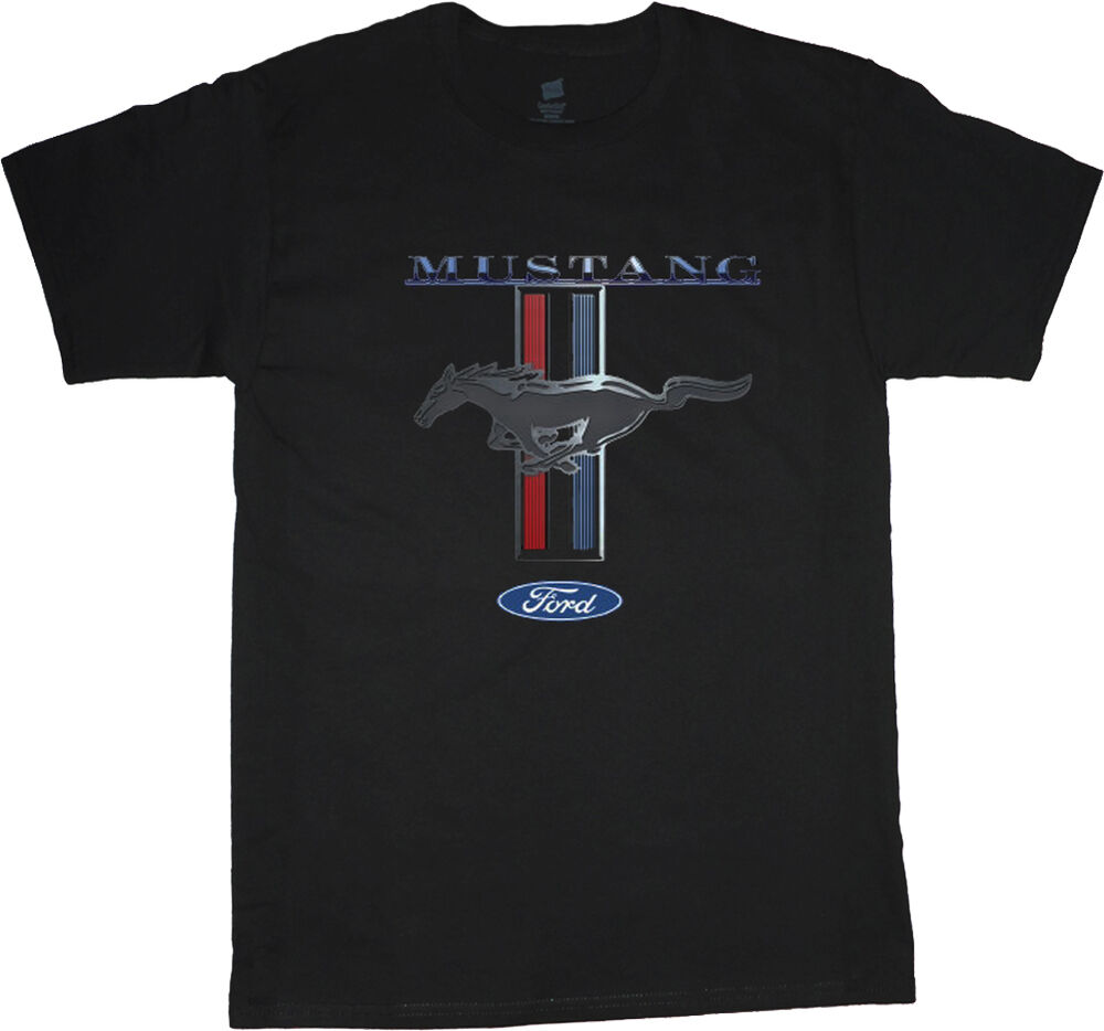 ford mustang t shirt for men mustang pony tri bar tee. Black Bedroom Furniture Sets. Home Design Ideas