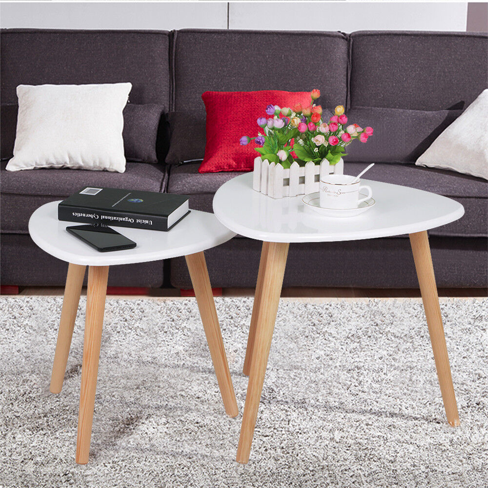 End table set 2 nesting stacking side tables wood living room furniture white ebay for White end tables for living room