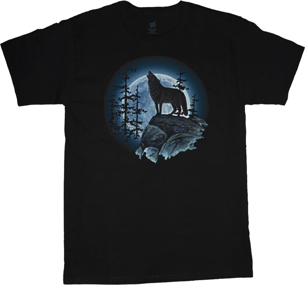 Big and tall t shirt lone wolf howlng at the moon tee for T shirt for tall man