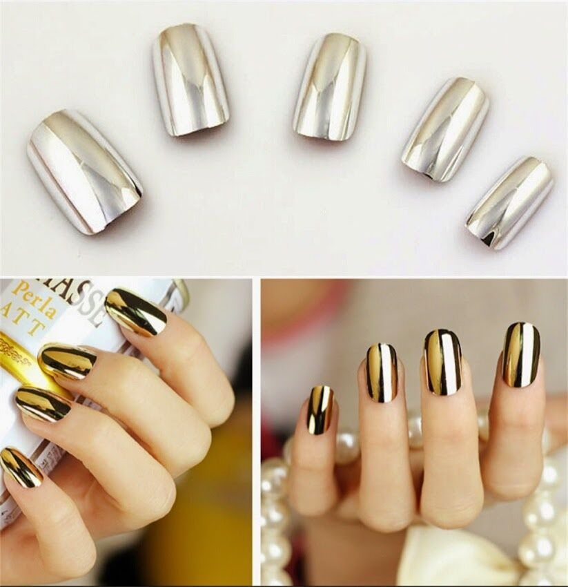 Metallic Fake Press On Nails Chrome Golden Silver Nails ...