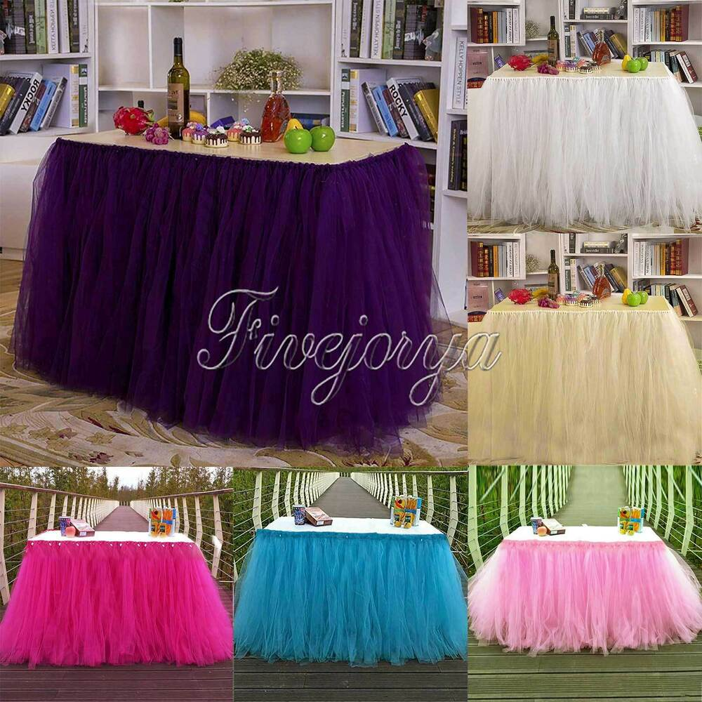 Tulle TUTU Table Skirt Tableware Wedding Party Xmas Baby ...