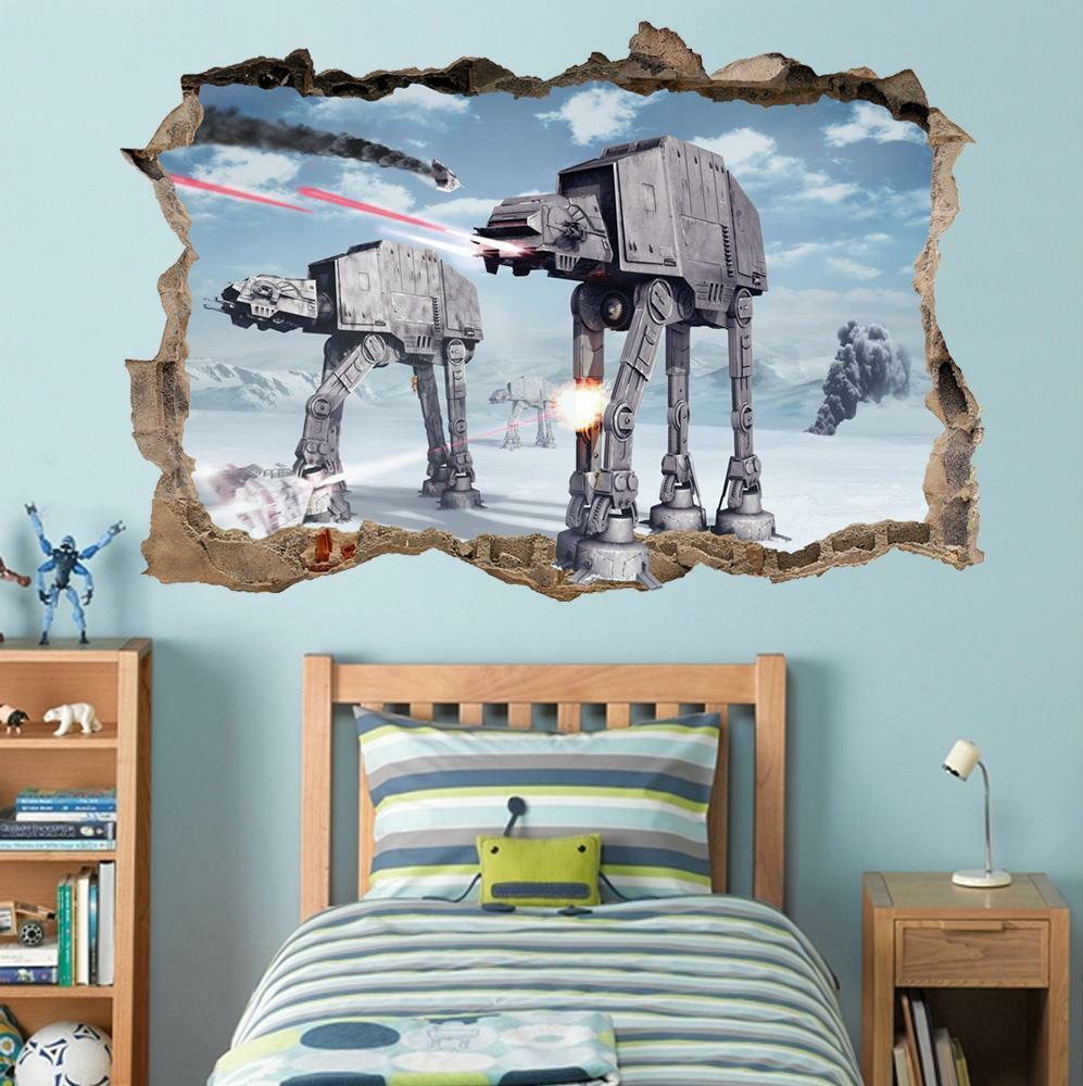 star wars battle of hoth smashed wall decal removable wall sticker art hole h280 ebay. Black Bedroom Furniture Sets. Home Design Ideas