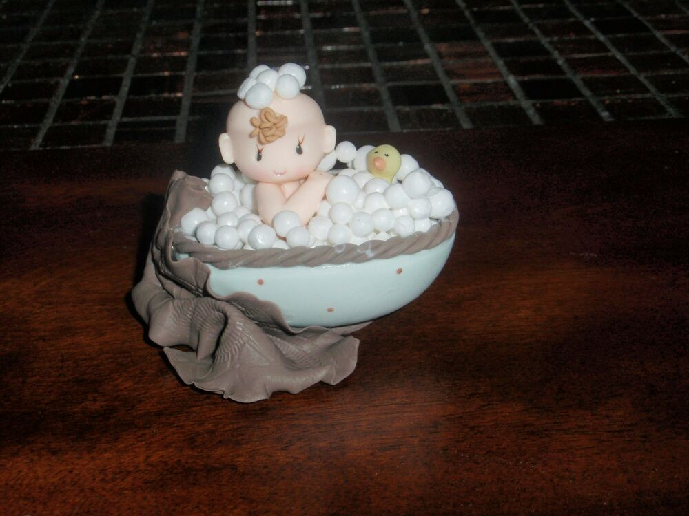 baby in tub topper diaper cupcakes centerpieces birthday cake in cold porcelain ebay. Black Bedroom Furniture Sets. Home Design Ideas
