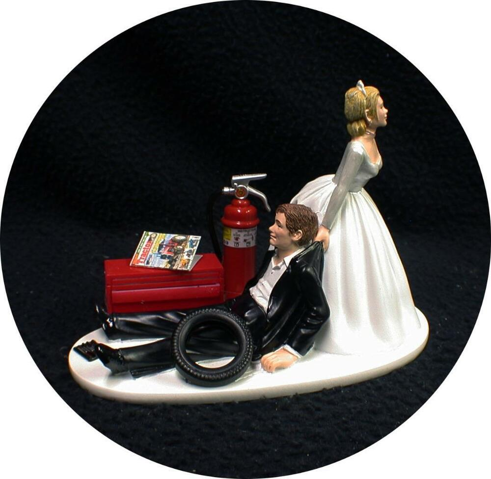 Bride Wedding Cake Topper: Car AUTO MECHANIC Wedding Cake Topper Bride Dragging Groom