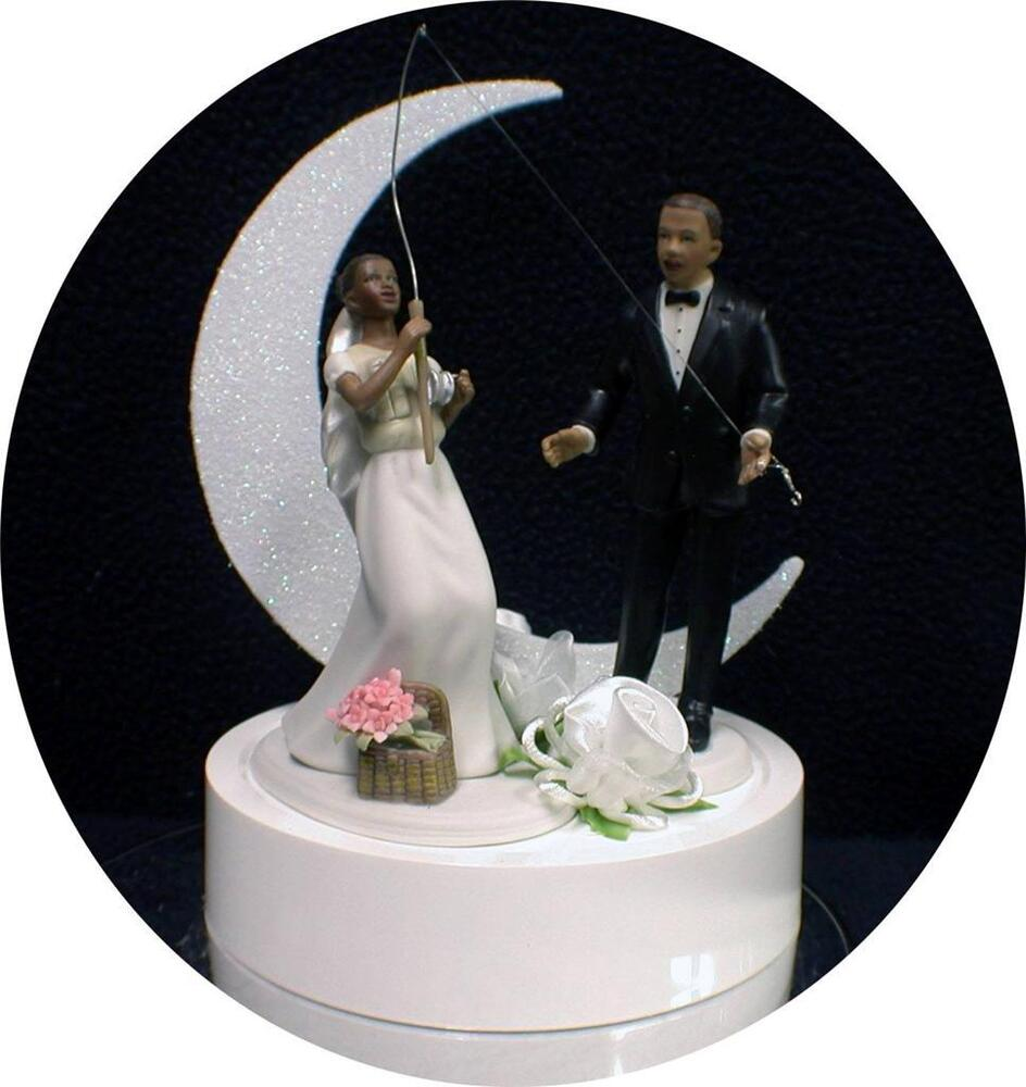 Black African American Fishing Fish Bride Groom Wedding Cake Topper TOP Funny