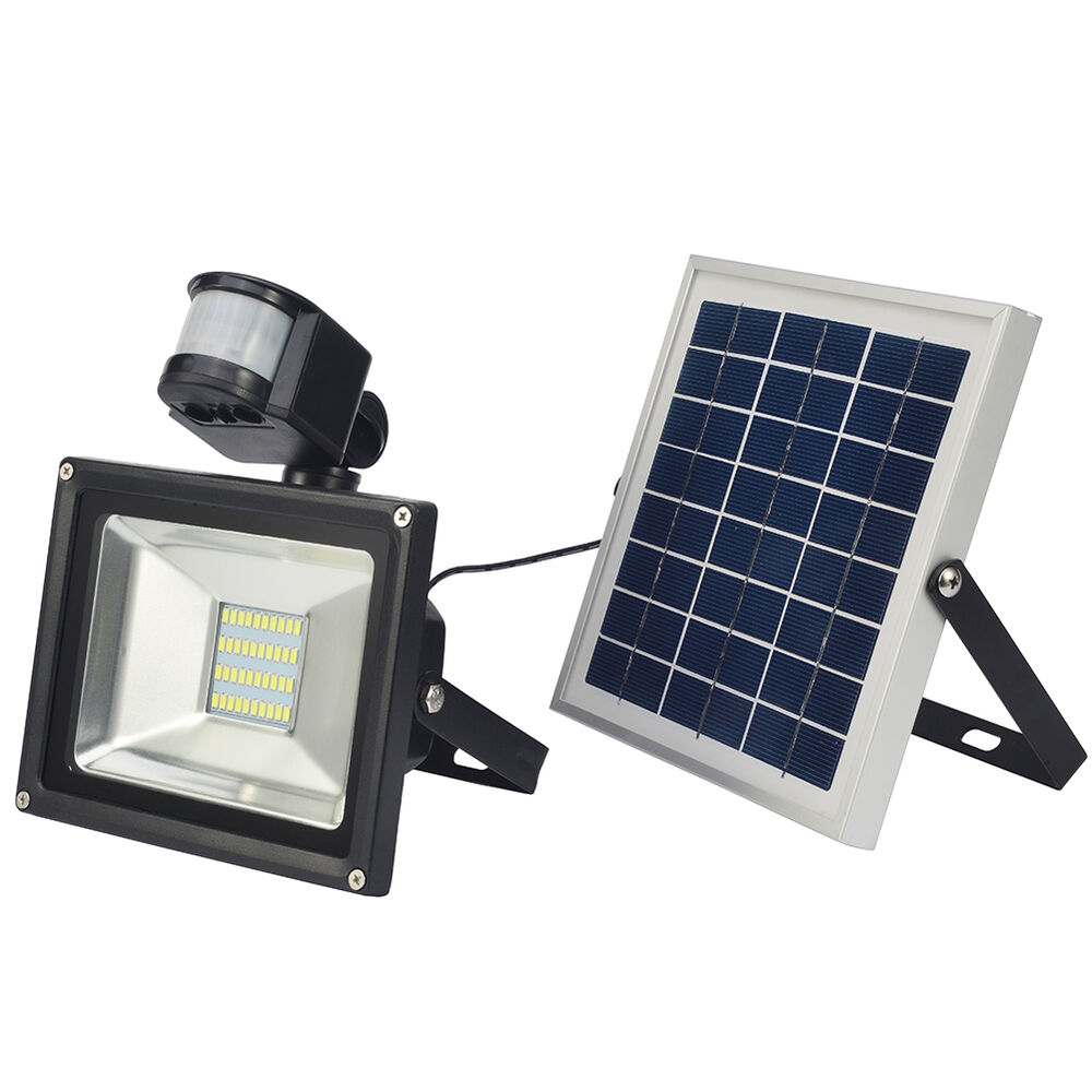 20w led solar lampe solarpanel mit bewegungsmelder und akku wei wandleuchte ebay. Black Bedroom Furniture Sets. Home Design Ideas
