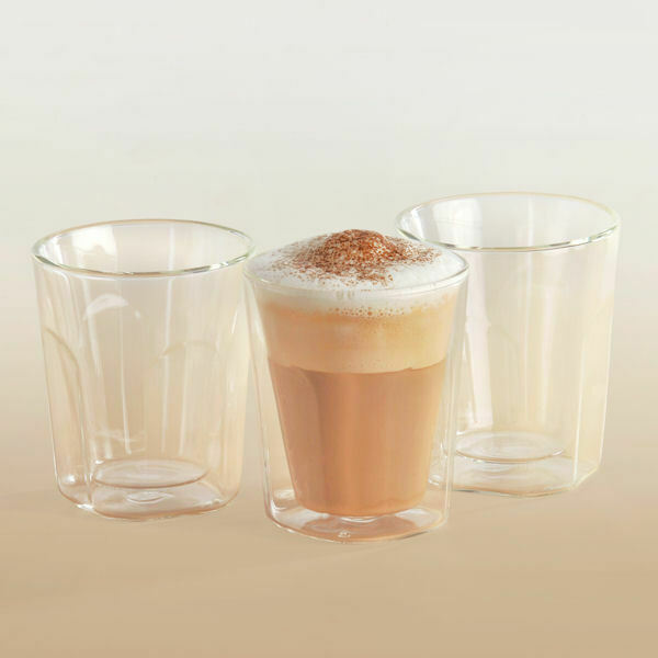 6 thermo kaffeegl ser eckig doppelwandig cappuccino 200 ml kaffeebecher ebay. Black Bedroom Furniture Sets. Home Design Ideas
