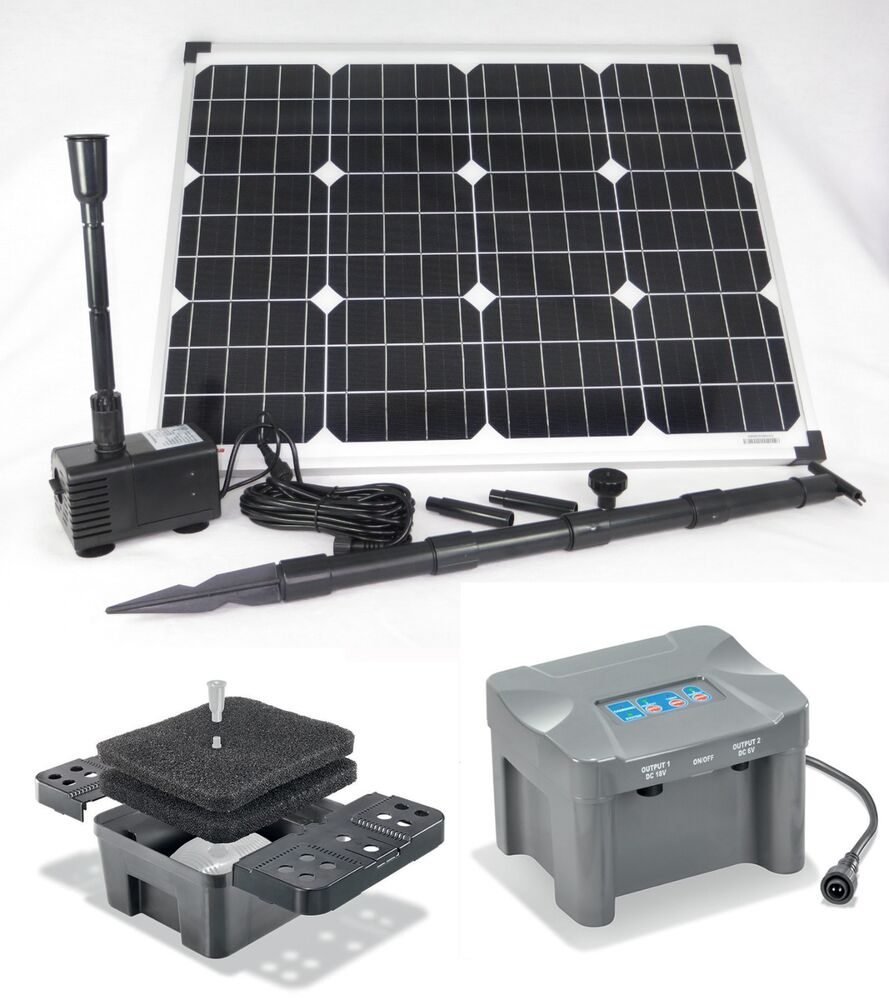 50w solarpumpe siena teichpumpe filter tauchpumpe solar akku pumpe bachlauf set ebay. Black Bedroom Furniture Sets. Home Design Ideas