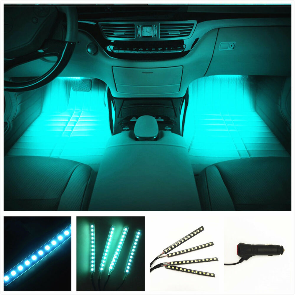 4 x car white 12 led decorative interior floor undercar light lamps bulbs dc 12v ebay for Led lighting for cars interior