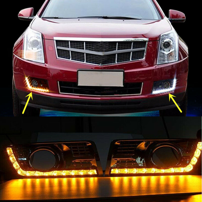 2x LED Daytime Running Light DRL Yellow Turn Signal For