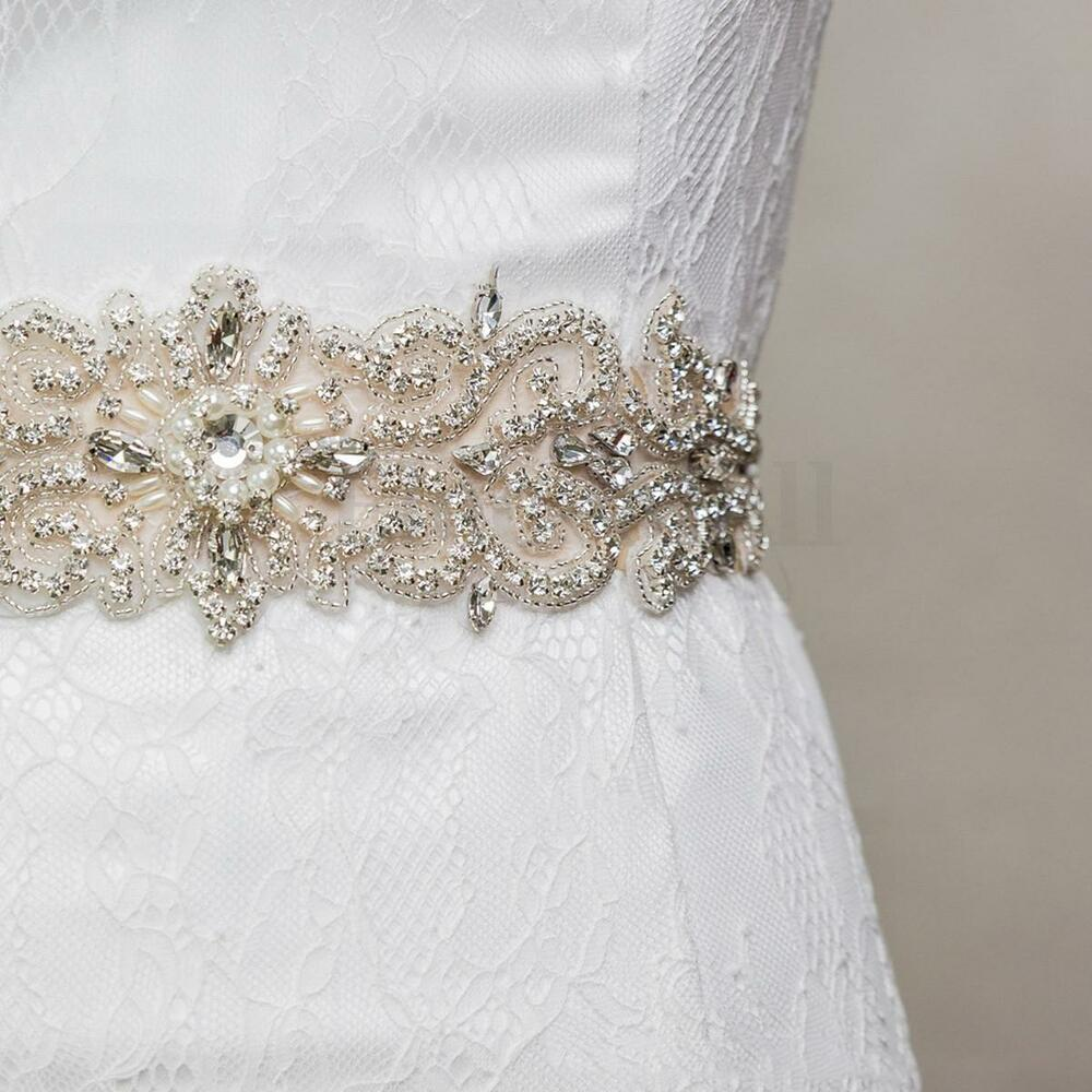 Vintage handmade crystal rhinestones wedding dress bridal for Wedding dress sash with rhinestones