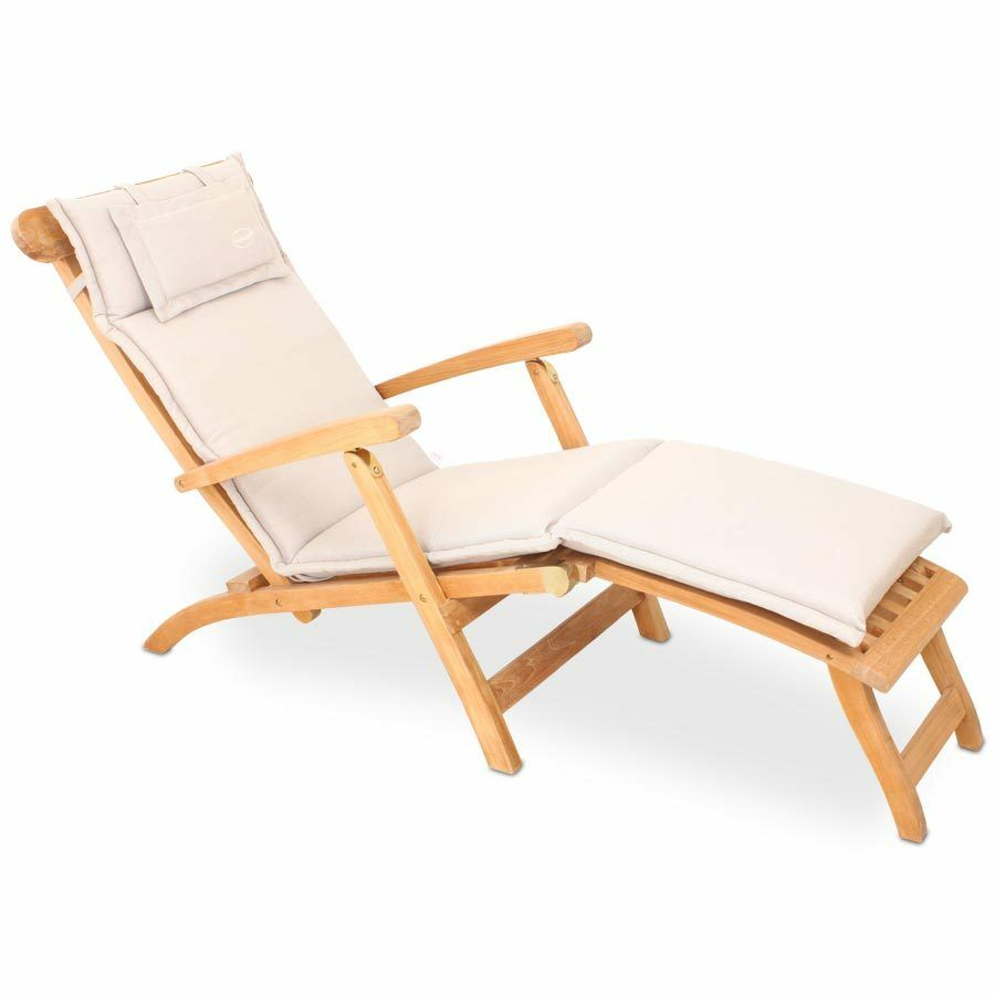 polster auflage f r liege deckchair natur creme beige reissverschluss waschbar ebay. Black Bedroom Furniture Sets. Home Design Ideas