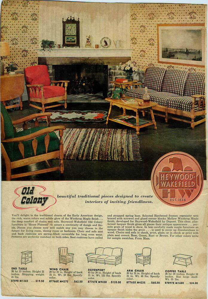 Details About 1947 Paper Ad Heywood Wakefield Old Colony Early American Furniture Chair Couch