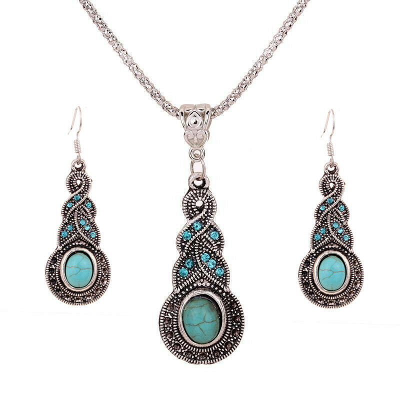 retro tibet silver blue turquoise pendant necklace