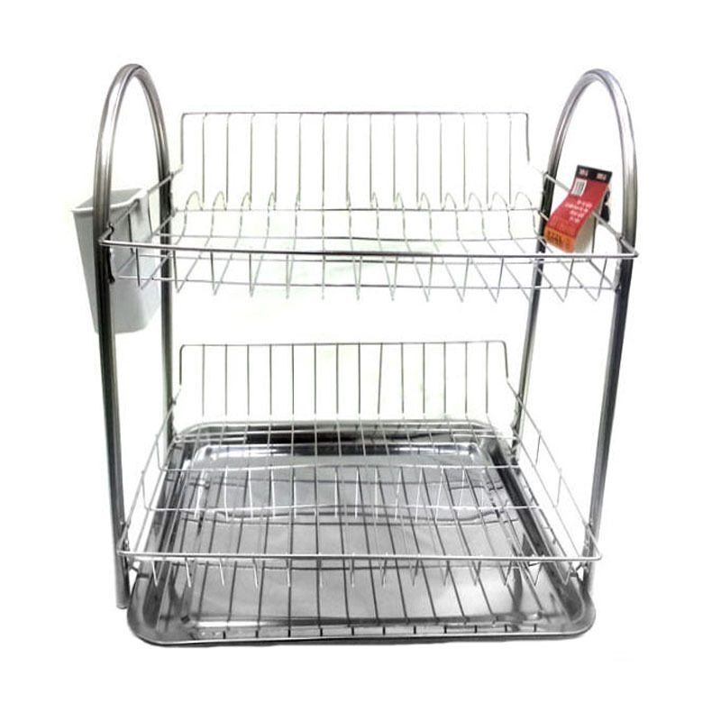 Stainless stand dish drying rack double shelf sink kitchen dish storage new ebay - Kitchen sink drying rack ...