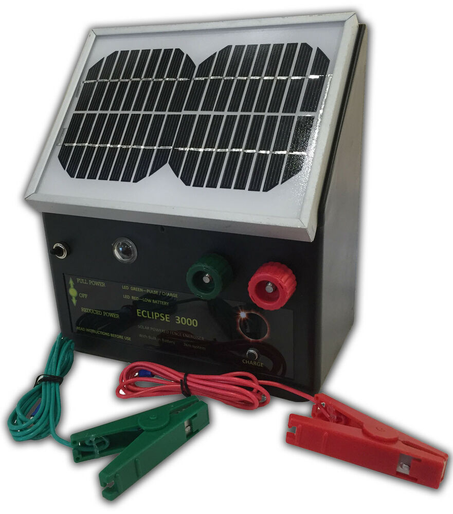 New 3km Solar Powered Electric Fence Energiser Charger