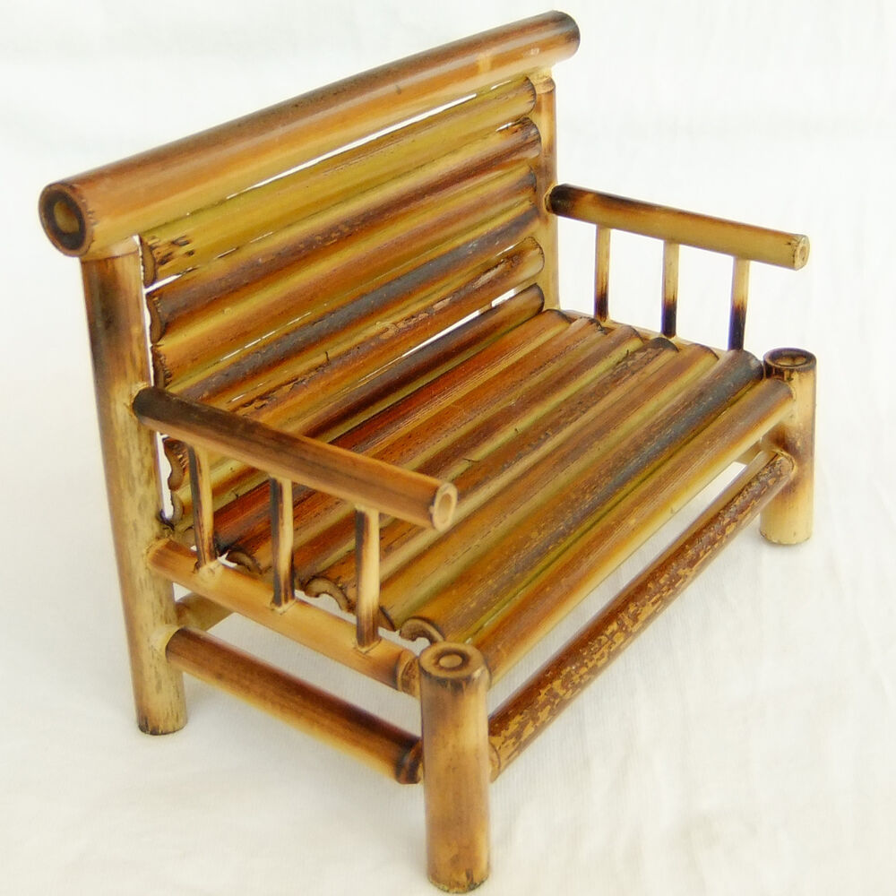 Miniature bamboo bench chair vintage furniture dollhouse for Muebles de bambu y mimbre