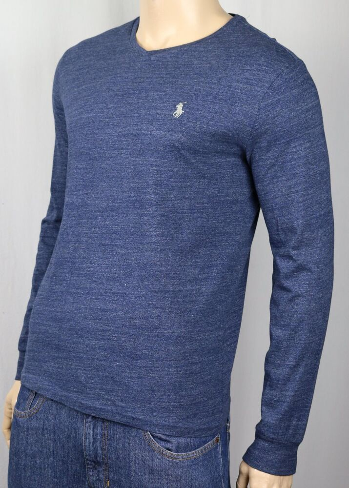 Polo Ralph Lauren Blue Long Sleeve V Neck Tee T Shirt Nwt