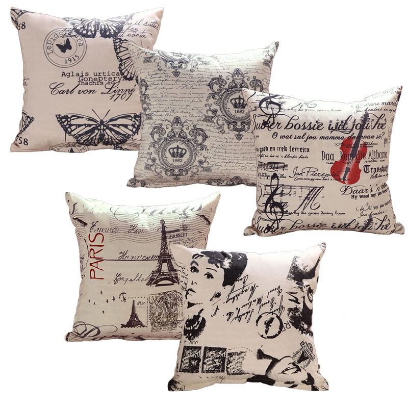 Simple Square Cotton Linen Throw Waist Pillow Case Sofa Cushion Covers Size 43cm eBay