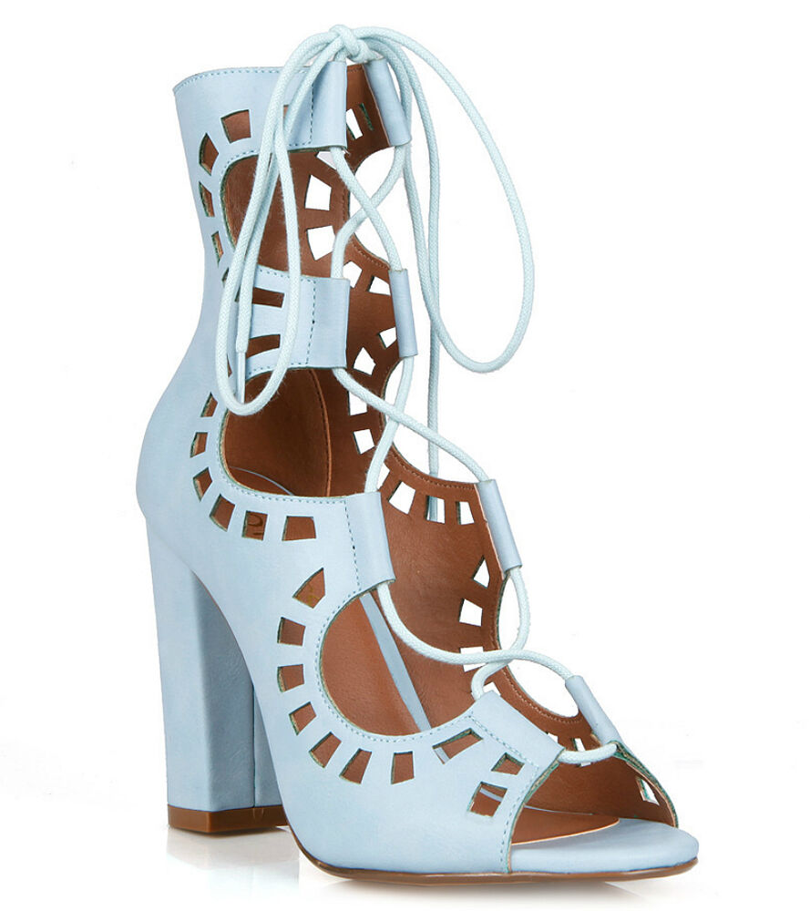 7081838a449 Details about Sky Blue Tan Open toe Sandal Lace up Chunky Heels Party  Women s shoes Dove