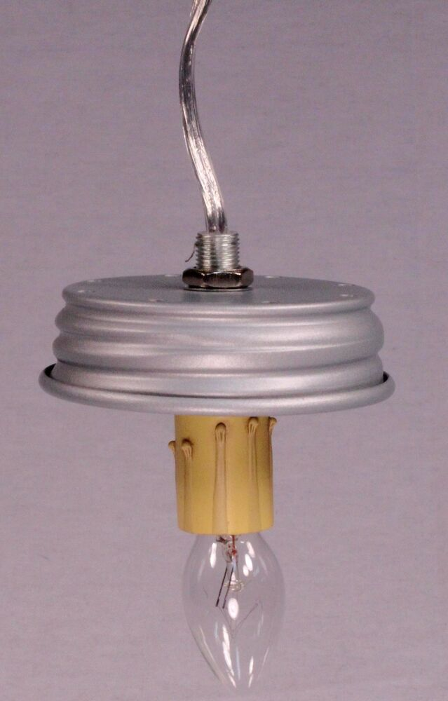 mason jar electric diy pendant hanging lamp conversion kit silver pre wired ebay. Black Bedroom Furniture Sets. Home Design Ideas