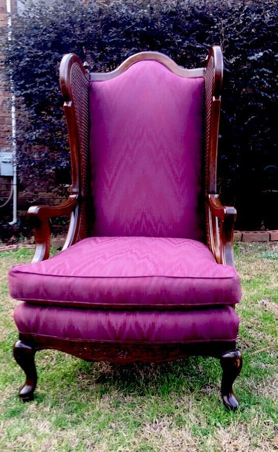 Vintage Mid Century Cane Wingback Chair Flame Stitch Hollywood Regency | eBay