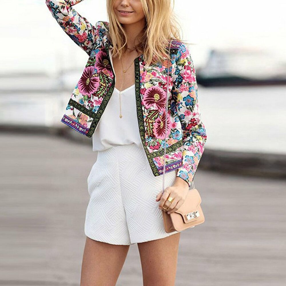 fashion women floral slim casual spring blazer suit jacket. Black Bedroom Furniture Sets. Home Design Ideas