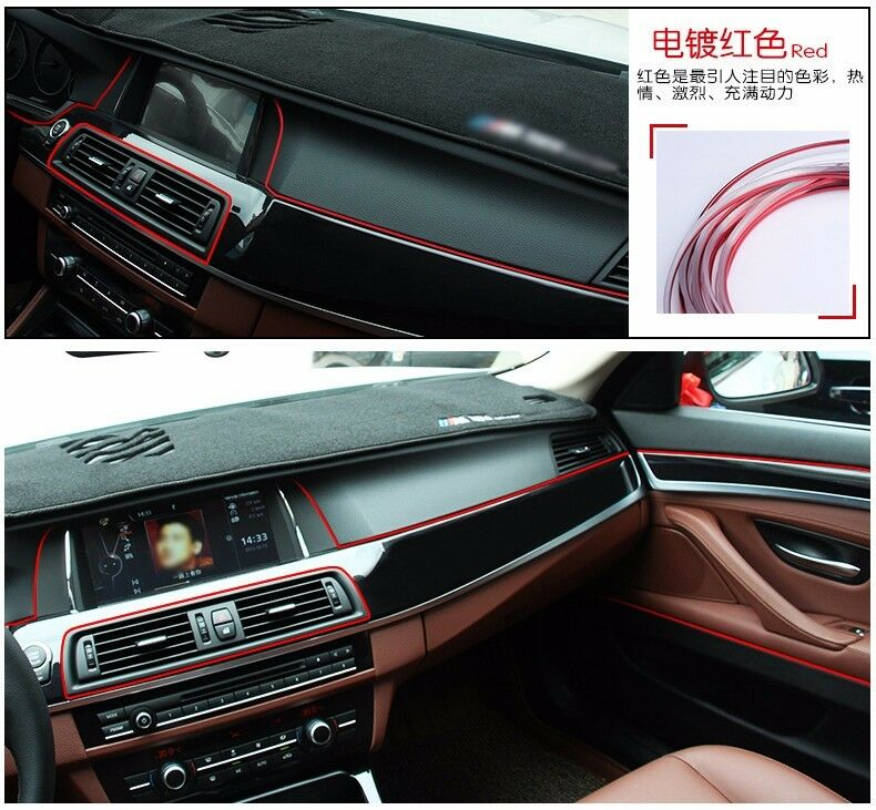5m auto accessories car universal interior decoration chrome shiny red line ebay. Black Bedroom Furniture Sets. Home Design Ideas