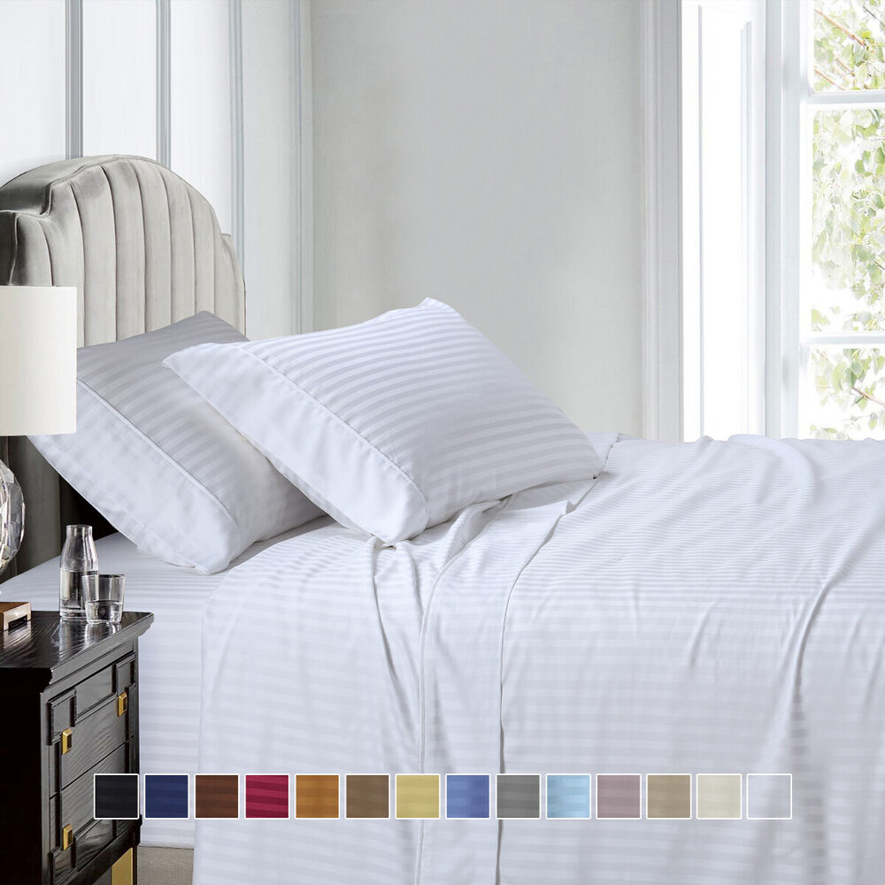 600 Thread Count Stripe Sheet Set Combed Cotton Bed Sheet