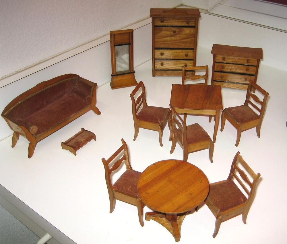 Large set antique german miniature doll house furniture ebay Dolls wooden furniture