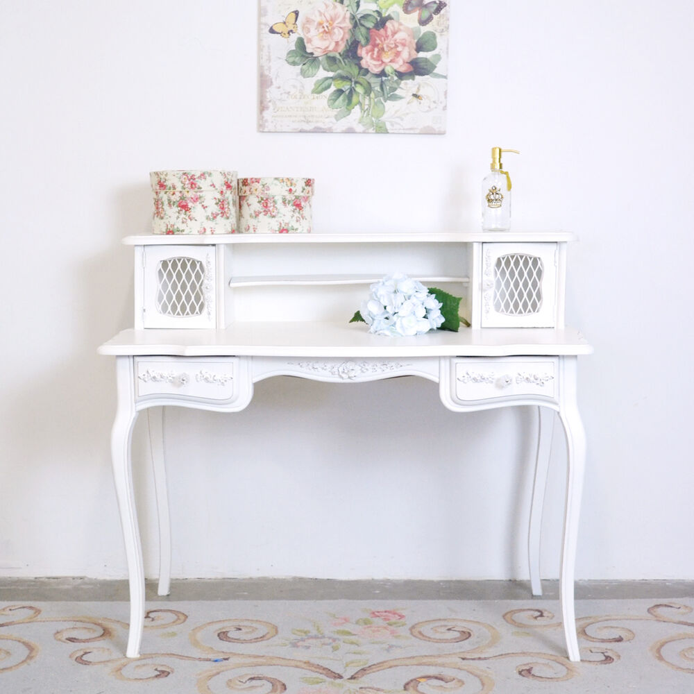 shabby cottage chic french vintage style mesh desk with. Black Bedroom Furniture Sets. Home Design Ideas