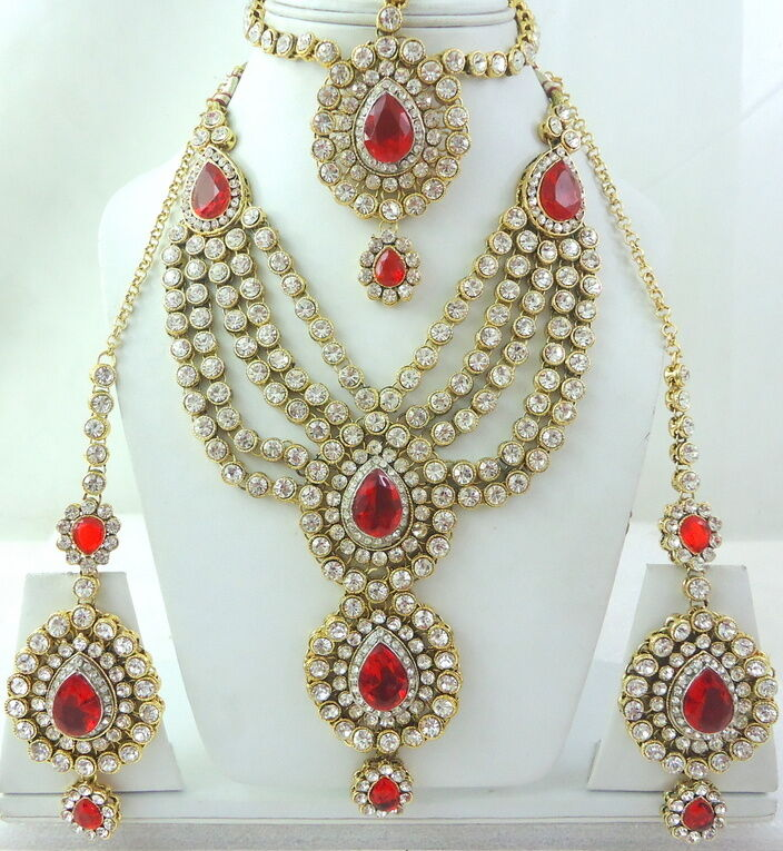 Indian Gold Necklace Set: RED CZ GOLD TONE SEMI BRIDAL NECKLACE INDIAN JEWELRY SET