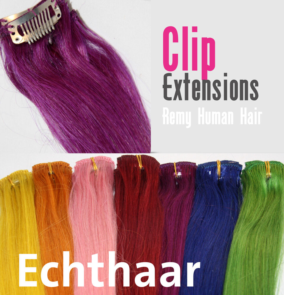 echthaar bunte str hnen clip extensions haarverl ngerung 50 cm farbige tressen ebay. Black Bedroom Furniture Sets. Home Design Ideas