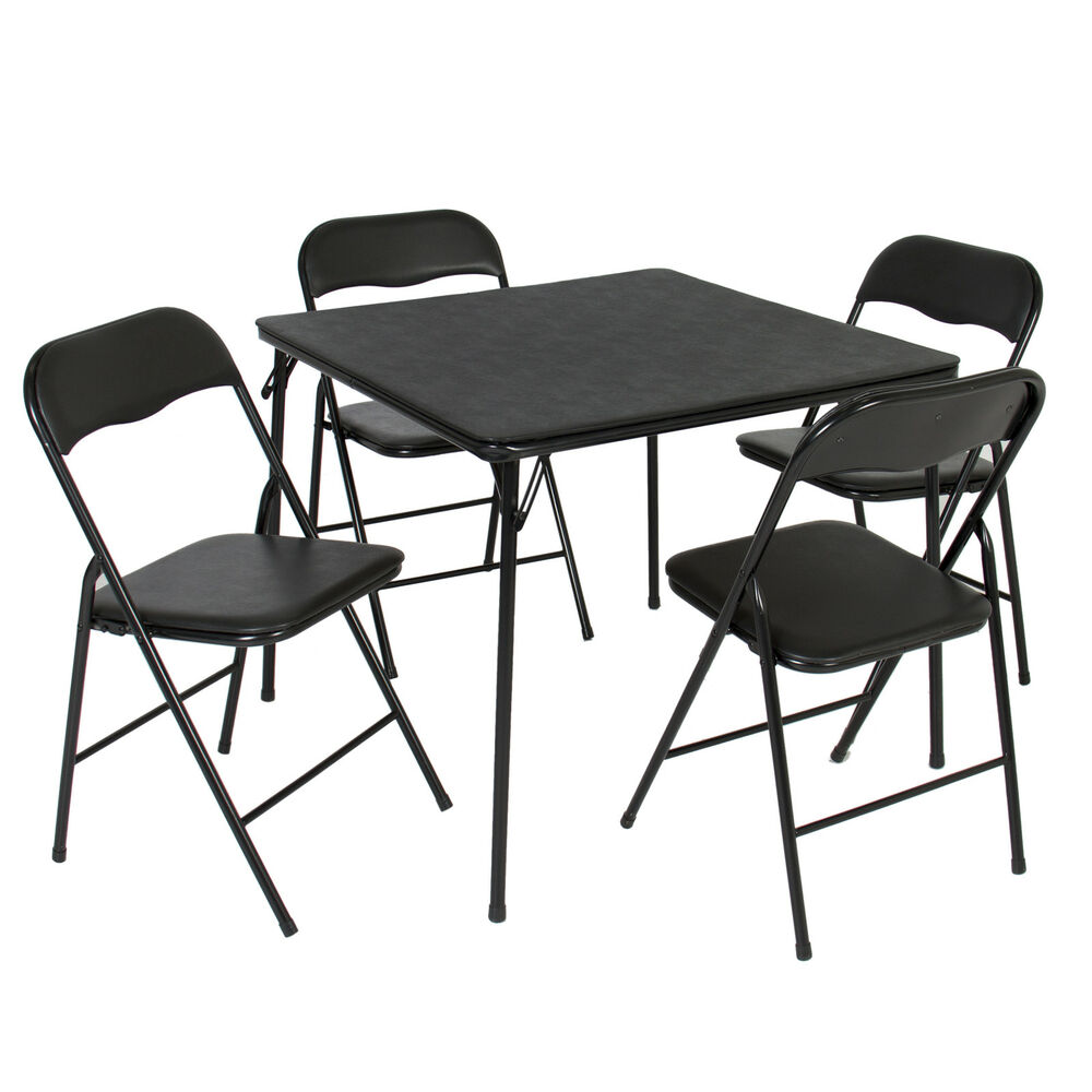 5pc Folding Table Chairs Card Poker Game Parties
