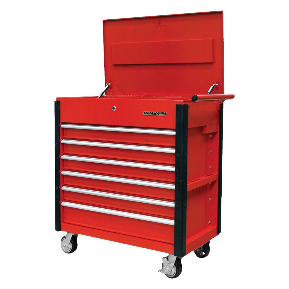 quality craft 24968 red 6 drawer professional tool cart